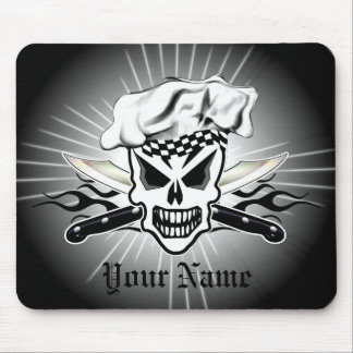 Chef Skull and Flaming Chef Knives 2 Mouse Pad