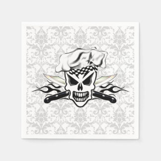 Chef Skull and Flaming Chef Knives 2 Paper Napkin