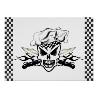 Chef Skull and Flaming Chef Knives 2 Poster