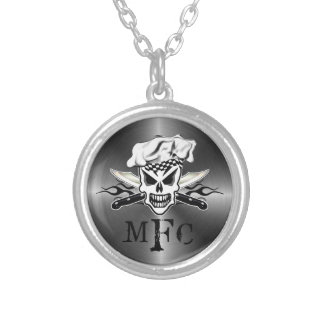 Chef Skull and Flaming Chef Knives 2 Silver Plated Necklace
