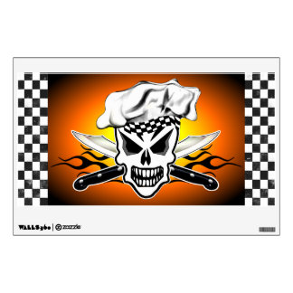Chef Skull and Flaming Chef Knives 2 Wall Decal