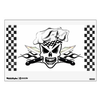 Chef Skull and Flaming Chef Knives 2 Wall Sticker