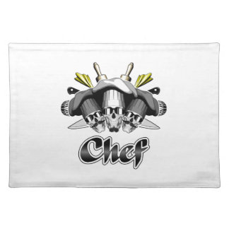 Chef Skull and Kitchen Utensils Placemat