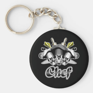 Chef Skull and Tools of the Trade Basic Round Button Keychain