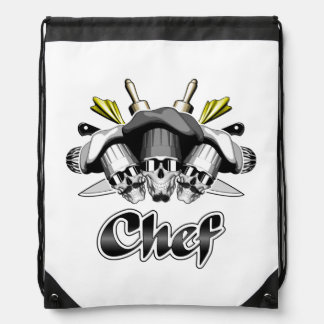 Chef Skull and Tools of the Trade Drawstring Backpack