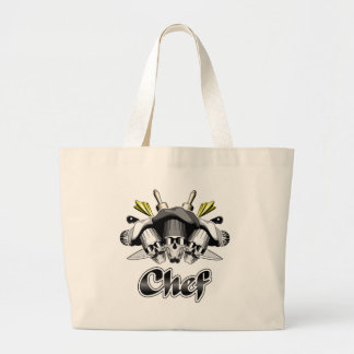 Chef Skull and Tools of the Trade Large Tote Bag