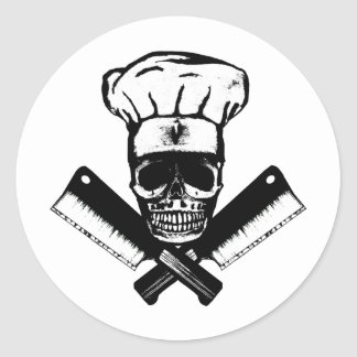 Chef Skull (B&W) Classic Round Sticker