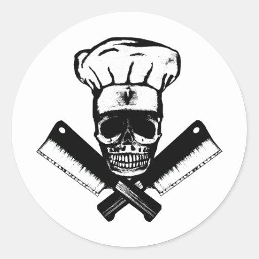 Chef Skull (B&W) Stickers