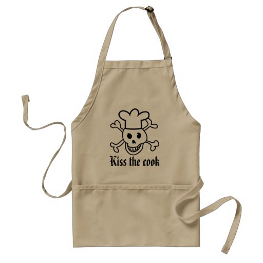 Chef skull BBQ apron for men | Kiss the cook