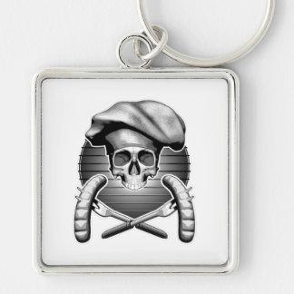 Chef Skull: BBQ Silver-Colored Square Keychain