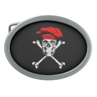 Chef Skull Crossbones: Red Oval Belt Buckle