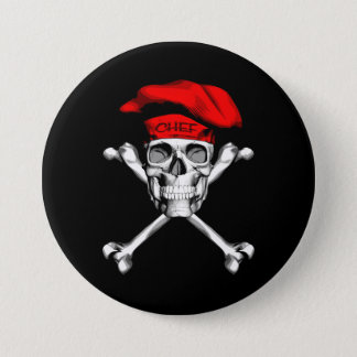 Chef Skull Crossbones: Red Pinback Button