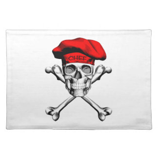 Chef Skull Crossbones: Red Placemat