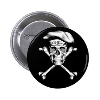 Chef Skull Crossbones: White Pinback Button