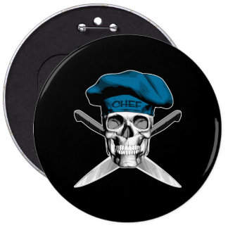Chef Skull Crossed Knives Blue Pinback Button
