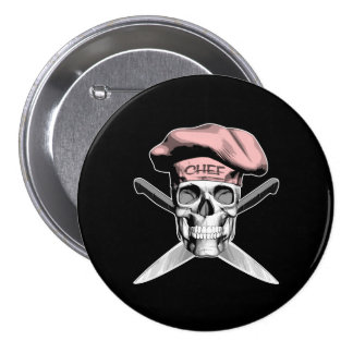 Chef Skull Crossed Knives Pink Pin