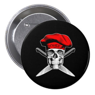 Chef Skull Crossed Knives Red Buttons