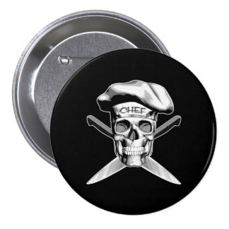 Chef Skull Crossed Knives White Buttons