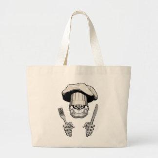 Chef Skull: Knife and Fork Large Tote Bag