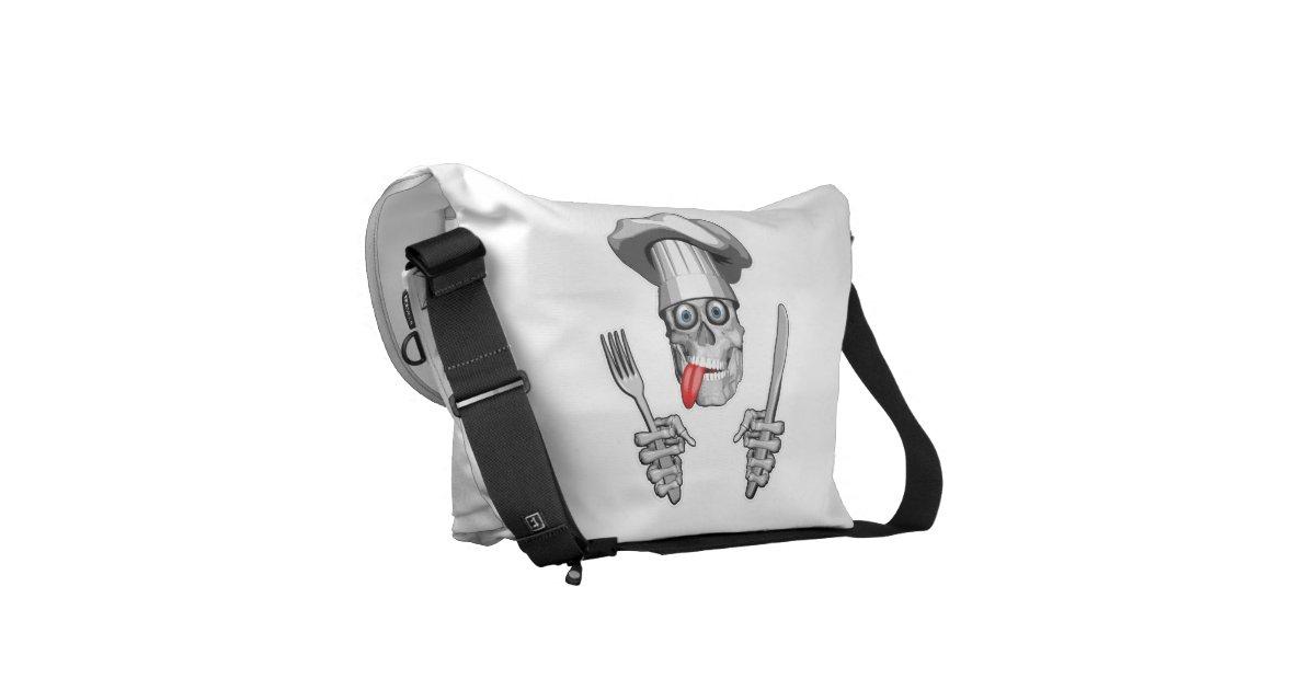 chef skull knife and fork messenger bag zazzle. Black Bedroom Furniture Sets. Home Design Ideas