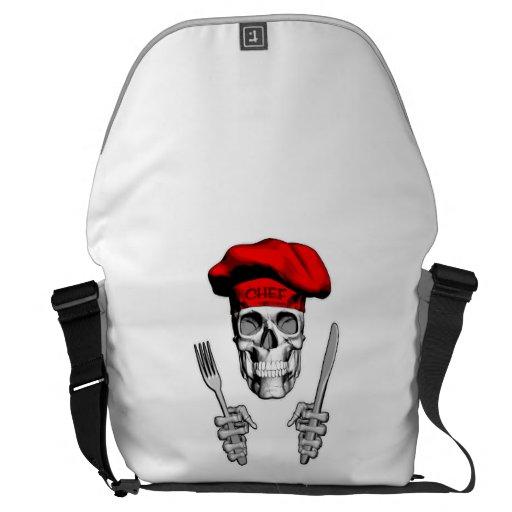 chef skull knife and fork messenger bag. Black Bedroom Furniture Sets. Home Design Ideas