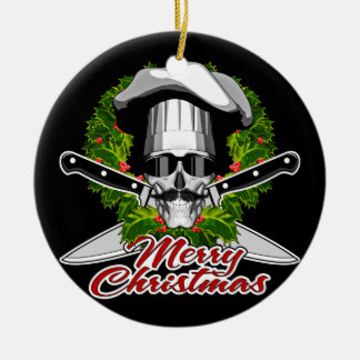 Chef Skull: Merry Christmas Double-Sided Ceramic Round Christmas Ornament