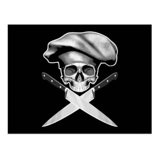 Chef Skull n Knives Postcard
