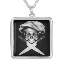 Chef Skull n Knives Silver Plated Necklace