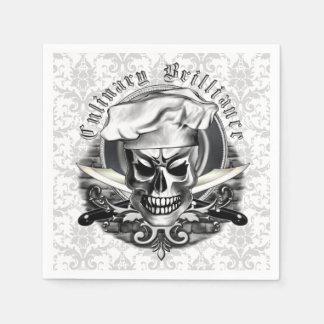 Chef Skull Napkins: Culinary Brilliance Disposable Napkins