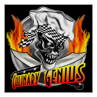 Chef Skull Poster: Culinary Genius