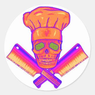 Chef_Skull_psych Classic Round Sticker