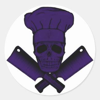 Chef_Skull_purple Classic Round Sticker