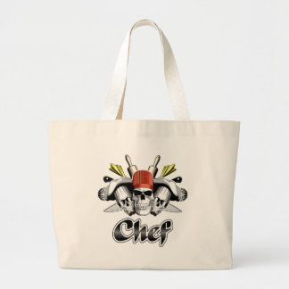 Chef Skull: Tools of the Trade Large Tote Bag