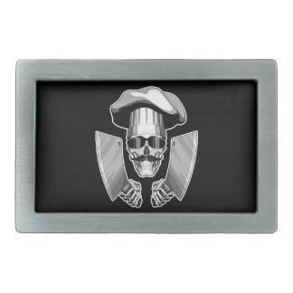 Chef Skull with Butcher Knives Rectangular Belt Buckle