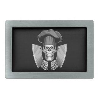 Chef Skull with Butcher Knives Rectangular Belt Buckles