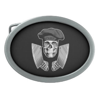 Chef Skull with Butcher Knives Oval Belt Buckle