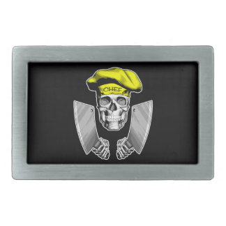 Chef Skull with Butcher Knives Belt Buckles