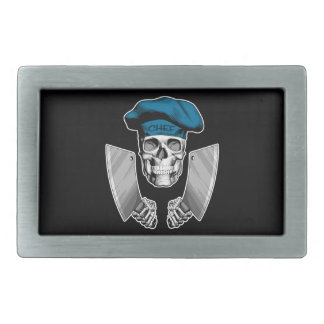 Chef Skull with Butcher Knives Belt Buckle
