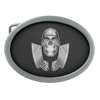 Chef Skull with Butcher Knives Oval Belt Buckles