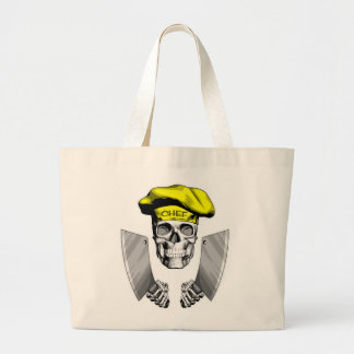 Chef Skull with Butcher Knives Large Tote Bag
