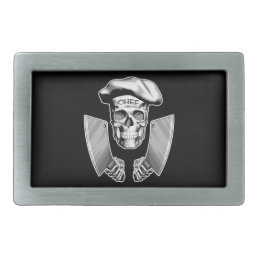 Chef Skull with Butcher Knives Rectangular Belt Buckle