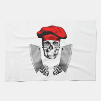 Chef Skull with Butcher Knives Towel