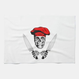 Chef Skull with Chef Knives Hand Towels