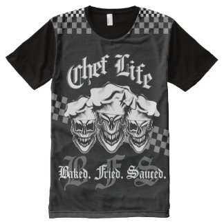 Chef Skulls: Chef Life 3, Baked. Fried. Sauced. All-Over-Print T-Shirt