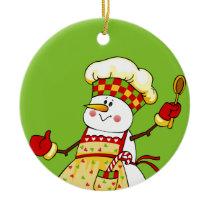 Chef Snowman Christmas Ornament