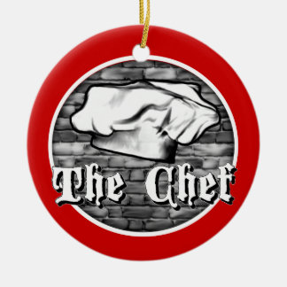 Chef Toque Double-Sided Ceramic Round Christmas Ornament