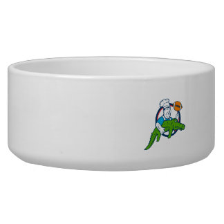 Chef Twirling Football Carry Alligator Circle Retr Bowl