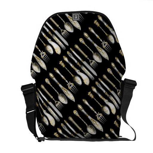 chef utensils place setting messenger bag zazzle. Black Bedroom Furniture Sets. Home Design Ideas
