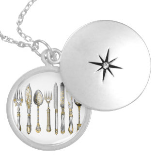 Chef utensils place setting round locket necklace