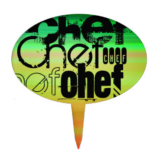 Chef; Vibrant Green, Orange, & Yellow Cake Toppers